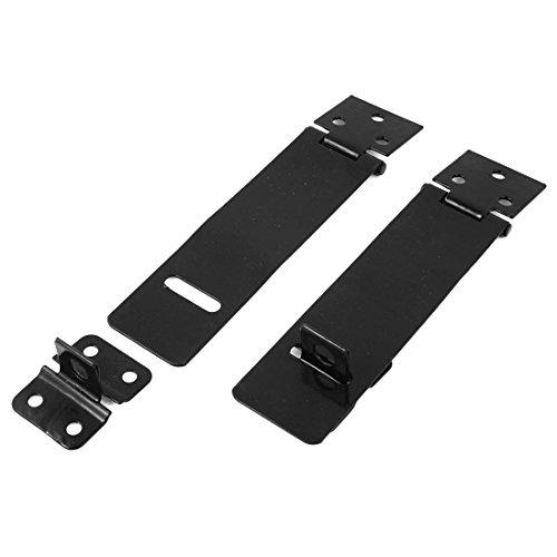 Sourcingmap, a14070400ux0701, Black Metal rettangolo Gates-Mate blocco HASP Staple 11.8