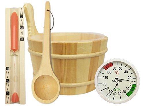 Sauna Zubehör Set 5-teilig - Saunakübel Saunakelle Sanduhr Thermohygrometer Saunazubehör