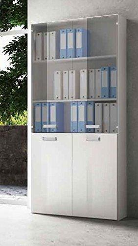 Meuble étagère pour bureau Galileo 4 portes R3S2V1 – Couleur blanc laqué
