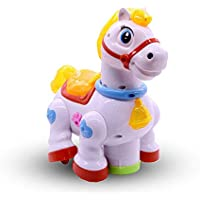 DOMENICO Fantasy India Bump and Go Function Musical Pony Toy with Music and 4D Lights for Baby (Multicolour)