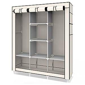 udear einfach kleiderschrank aus stoff faltschrank stoffschrank bedroom wardrobes beige amazon. Black Bedroom Furniture Sets. Home Design Ideas