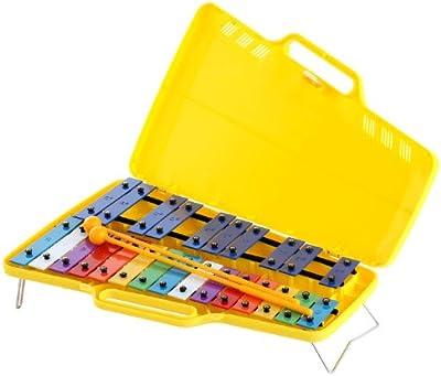Classic Cantabile - Metalófono soprano (25 teclas, con estuche y 2 baquetas, para niños), multicolor