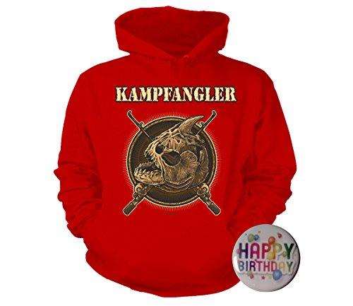 Geschenke-Set: T-Shirt Kampfangler, Angeln, Fischen S bis 5XL rot +Button Happy Birthday