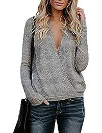 Jitong Élégant Pull Tricoter Chandail Chaud Femme Manche Longue Col V  Pullover Sweaters 1146cc7b862a