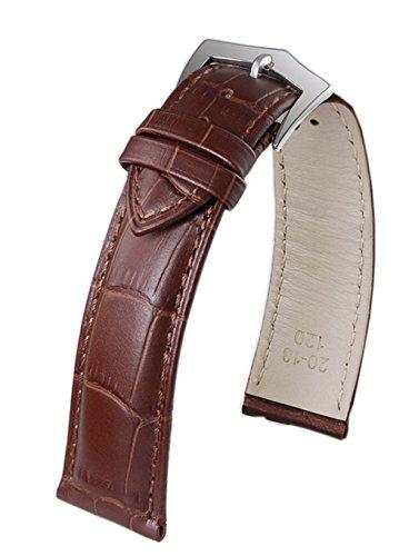 19mm universal mens Lederarmband in braun mit pin Spange weichem italienischen Leder calfskin rechtwinkligem Muster