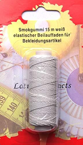 CKM Smokgummi 15 m x Ø 0,5 mm, weiß - Elastischer Beilauffaden für Bekleidungsartikel...
