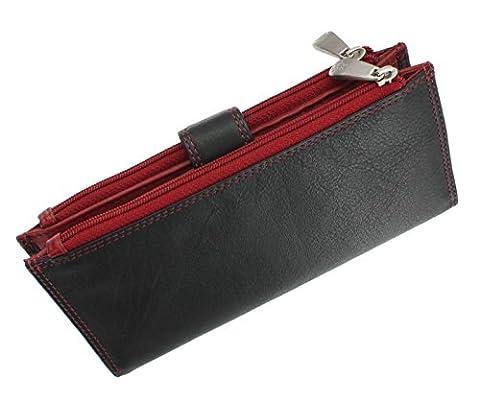 Visconti Collection Colorado JADE Porte-monnaie en Cuir pour Femmes CD23 Noir/Rouge