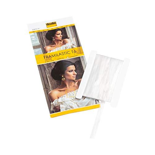 Transparent Elastisch (Vlieseline Framilastic T6 SB 5m x 6mm, 100% PU, Transparent, 6 mm x 5 m)
