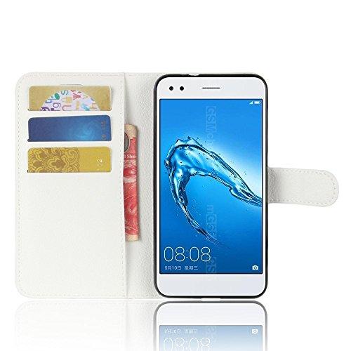 Cover Huawei P Smart ROCKWEY,portafoglio Cassa del telefono Cover per Huawei P Smart(bianco)