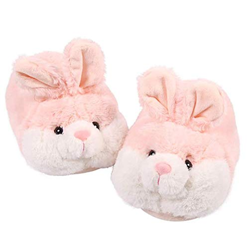 ED-Lumos Pink Rabbit Winter Warm Plush Shoes Ankle Flip Flop Slippers for Women Girls 2 Sizes