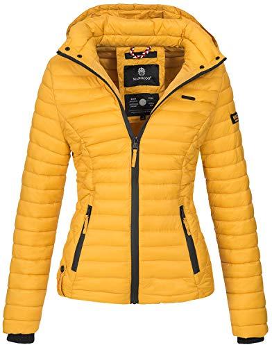 Marikoo Damen Jacke Steppjacke Übergangsjacke mit Kapuze gesteppt B600 [B600-Samt-Gelb-Gr.XL]