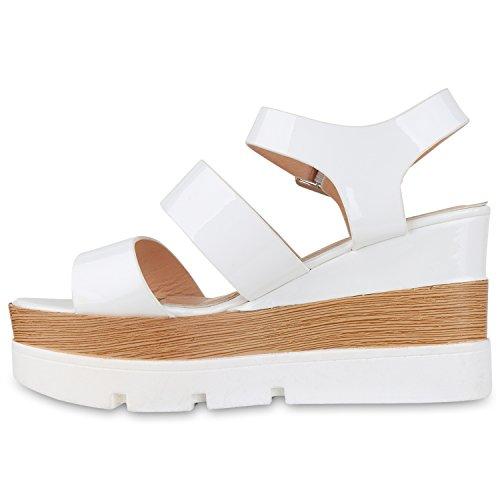 Damen Plateau Sandaletten Wedges Keilsandaletten Lack Weiß