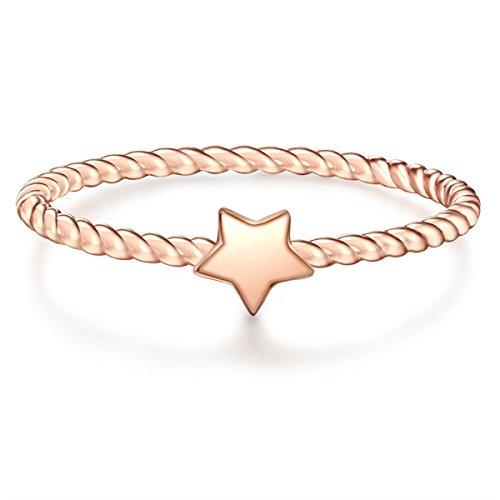 Glanzstücke München Damen-Ring Stern Sterling Silber rosévergoldet - Motivring Freundschaftsring schlicht