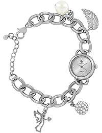 Crystal Damen-reloj de pulsera reloj azul colgante con diseño de ángel con alas brillantes perla bola de balanceo de Ángel cuarzo analógico plata 85651