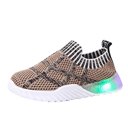 HDUFGJ Sneaker Schuhe Kinder Fliegendes Weben Tuch Laufschuhe Mädchen Jungen Led Licht Leuchtende Laufsport Schuhe Beleuchtete Schuhe28.5 EU(Grau)