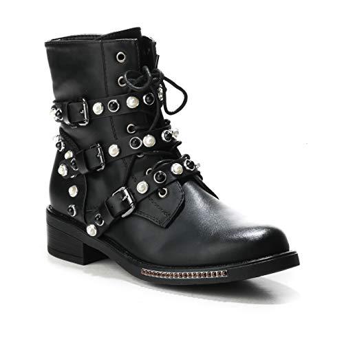 HERIXO Damen Schuhe Stiefeletten Schnallen Verzierung Perlen Nieten Flache Reissverschluss halbhoche Schnürboots Schnürer Military Boots (40 EU, Schwarz)