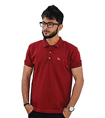 Hashtag Mens's Cotton Polo Collar T-Shirt-Solid Smart Fit-Maroon