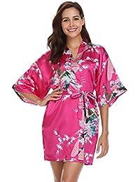 49a71673ed Vlazom Women Kimono Robes Satin Dressing Gown Peacock and Blossoms Sleep  Lounge Nightwear Short Silk Bride