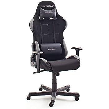 Robas Lund DX Racer 5 Gamingstuhl, Schreibtischstuhl, Bürostuhl, 78 x 52 x 124-134 cm, Stoff, schwarz/grau