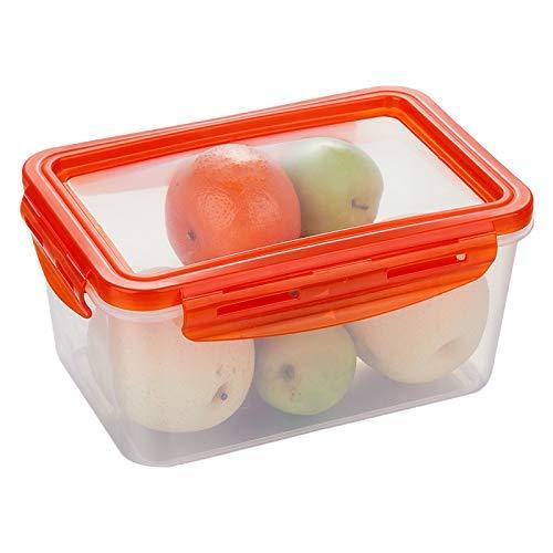 Tecoto Knuspriger, Kunststoff Lebensmittel Aufbewahrung Behälter, Mehrere Überlappend Kühlschrank Organizer Hülle mit Abnehmbare Abdeckung für Früchte,Gemüse,Fleisch,Fisch - Rot, Large -