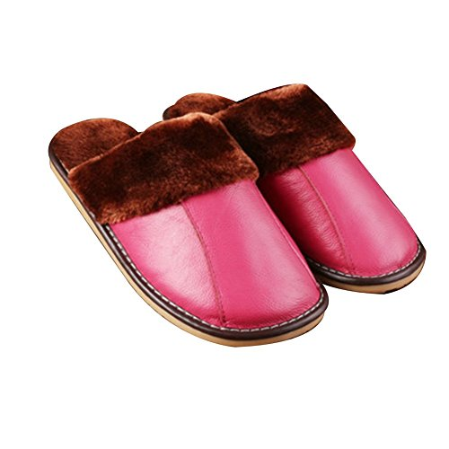 TELLW Winter Warm Leather Slippers For Men and Women Indoor Lovers Soft permeability Cowhide Slippers Rosa