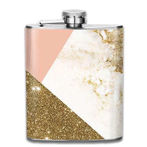 Flachmann, Marmor-Collage, Edelstahl, 200 ml, goldfarben -
