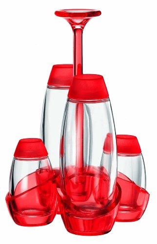 Guzzini Menage Set Olio Aceto Sale e Pepe Happy Hour, Rosso Chiaro, 18 x 18.5 x h26.4 cm