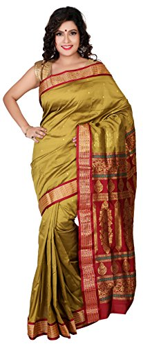 Aruna Fashions Self Design Paithani Gatti 3D Art Silk Saree( Olive color saree with Maroon color blouse piece)  available at amazon for Rs.999