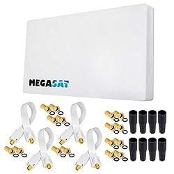 HB-DIGITAL Set: Megasat Sat-Flachantenne H30D4 Quad 4 Teilnehmer Direkt + Fensterhalterung + 30m SAT-Kabel + 4X SAT Fensterdurchführung + 16x F-Stecker vergoldet + 8X Gummitüllen | Full HD TV 3D 4K