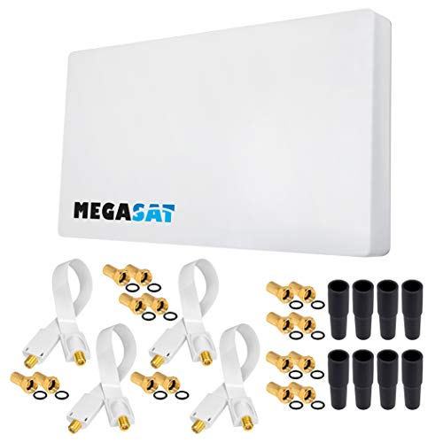 HB-DIGITAL Set: Megasat Sat-Flachantenne ✨ H30D4 Quad 4 Teilnehmer Direkt + Fensterhalterung + 4X SAT Fensterdurchführung Gold + 16x F-Stecker vergoldet + 8X Gummitüllen | Full HD TV 3D 4K