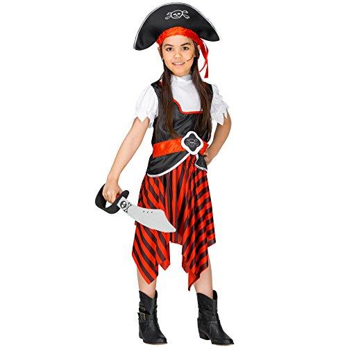 Kleiner Frankenstein Kostüm Junge - TecTake dressforfun Mädchenkostüm Piratin Merle Säbelrost | Wundervolle Mädchenverkleidung | inkl. Piratenhut mit Band (3-4 Jahre | Nr. 300750)