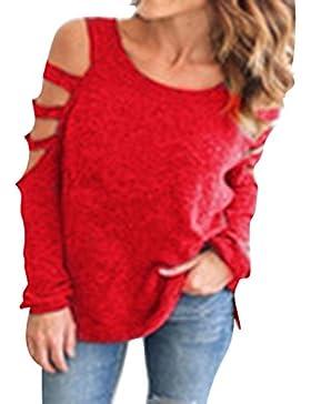 Hibote Mujer Camisas Manga Larga Top Mujeres Camiseta Top Casuales de Ajuste Holgado Camisa Off Shoulder Blusas...
