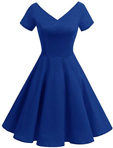 (Gardenwed Damen Vintage 1950er V-Ausschnitt Rockabilly Kleid PartyKleid Retro CocktailKleid Royal Blue M)