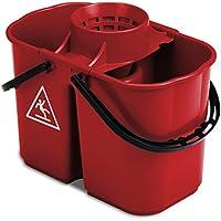 TTS Cleaning 00005250 - Cubo de fregar doble con escurridor, 8 y 6 l, color rojo