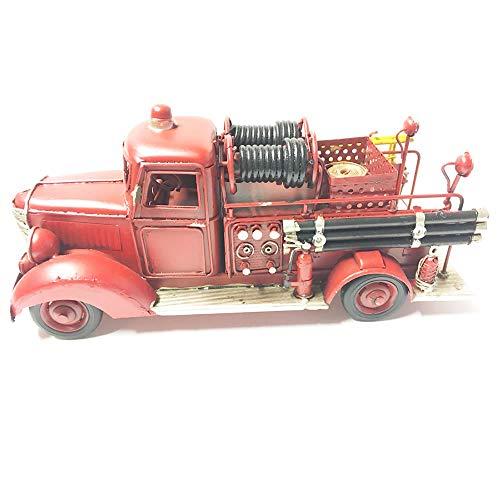 Modèle de Camion Vintage métal - Camion de Pompiers Rouge métal - Style rétro Rouge Vintage métal décorative - 30x12x13.5cm
