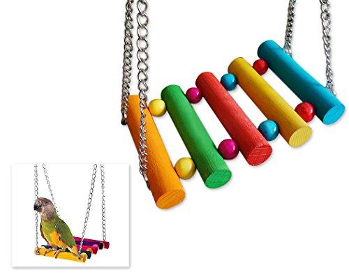 DSstyles Colorful Bird Ladder Wooden Bird Swing Hanging Toys Birdcage Hammock for Pet Bird Parrot Parakeet Budgie… 1