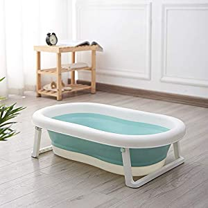 Baby Bath Tub for Toddler Kids Infant - Basin - Foldable Safe Non-Slip Portable (Available Colours: Green and Pink) (Green)
