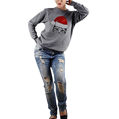 Christmas Katzef Drucken Damen Pullover Bluse Tops Weihnachten Beiläufig Frauen Hemd Langarm Rundhals Sweatshirts Hemden Pulli Blusen Kapuzenpullis Outerwear Elecenty (Grau, L)