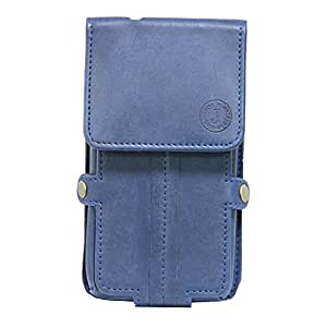Jo Jo A6 Nillofer Series Leather Pouch Holster Case For Spice M 5445 Dark Blue