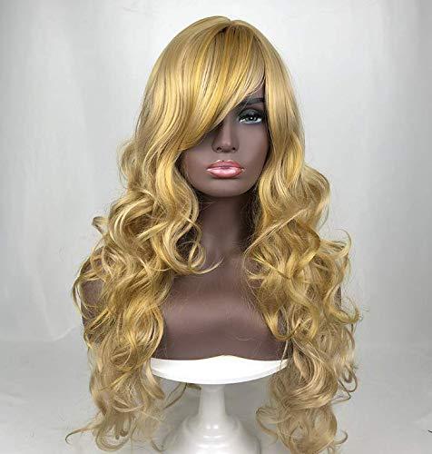 lange lockige Haare Chemiefaser Perücke Stirnband schräge Pony flauschige große Welle Cos - Gold ()