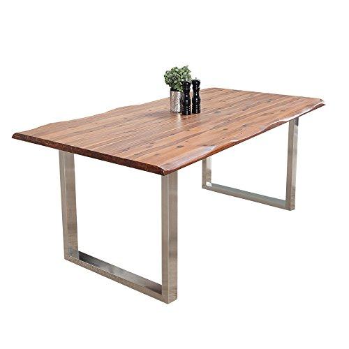 Massiver Baumstamm Tisch GENESIS 160cm Akazie Massivholz Baumkante Esstisch mit Kufengestell aus Edelstahl