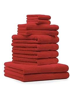 10 tlg. Badetuch Duschtücher Set Handtücher Classic Premium Farbe Rot 100% Baumwolle 2 Seiftücher 2 Gästetücher 4 Handtücher 2 Duschtücher