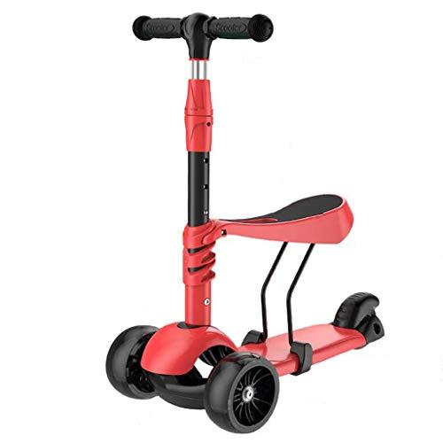LXIANGP Kinderfahrrad Walker 2 in 1 Kinderscooter Sitzt 4 Rad Alter 3-8 Anhebbarer Griff Abnehmbar PU Magnetisches Blitzrad Einfach einzufahren (Color : A) (2 Walker Einem Babys Für In)