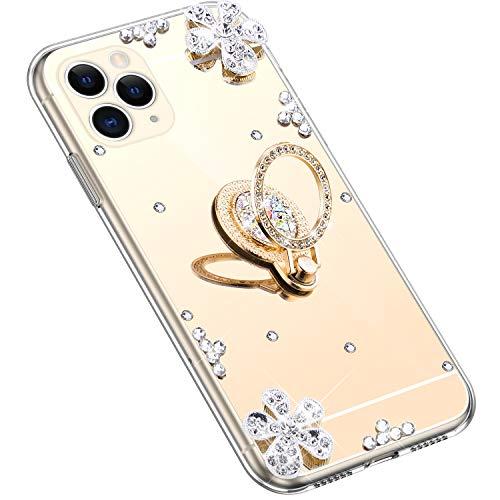 Uposao Kompatibel mit iPhone 11 Pro Hülle Silikon Spiegel Handyhülle Schutzhülle mit 360 Grad Ring Ständer Glitzer Kristall Strass Diamant Mädchen Handy Tasche Silikon Hülle Case,Gold