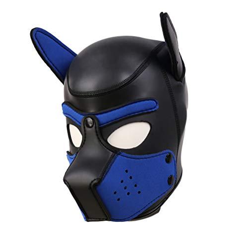 Kostüm Tier Benutzerdefinierte - Lovearn Gepolsterte Welpenhaube aus Latex benutzerdefinierte Tier Kopf Maske Neuheit Kostüm Hund Kopf Masken Cosplay voller Kopf mit Ohren 10 Farbe (Dunkelblau)