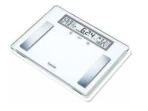 Beurer BG 51 Diagnosewaage (XXL Glaswaage bis 200 kg Tragkraft, 100 g Einteilung, Anzeige von Körpergewicht, fett, wasser, Muskelanteil, Knochenmasse, BMI, Kalorienbedarf)