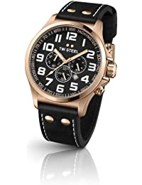 TW Steel Herren-Armbanduhr XL Pilot Chronograph Quarz Leder TW-419