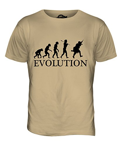 CandyMix Moderne Soldat Evolution Des Menschen Herren T Shirt Sand