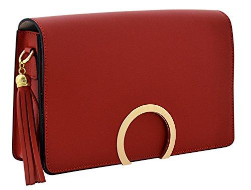 ALBA Tracolla Borse Donna Vera Pelle Cuoio Spalla Mano Moda Made in Italy Rosso