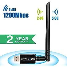 SUPOLA USB WiFi Adaptador 1200Mbps WiFi Antena 5dbi USB 3.0 WiFi Adaptador Largo Alcance Dual Band